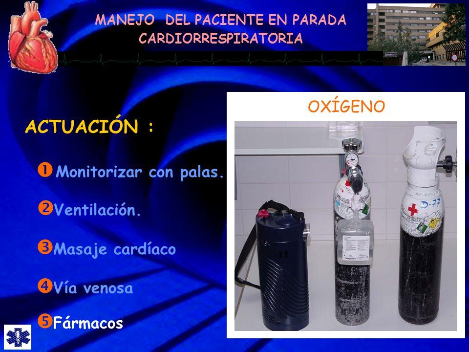 ACTUACIÓN : OXÍGENO Monitorizar con palas. Ventilación.