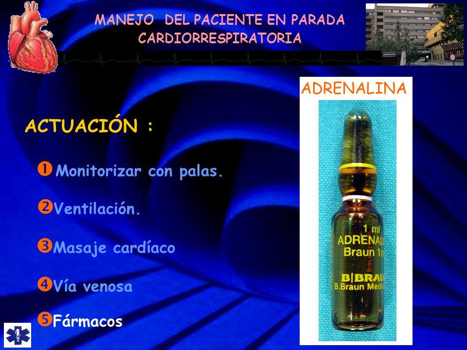 ACTUACIÓN : ADRENALINA Monitorizar con palas. Ventilación.