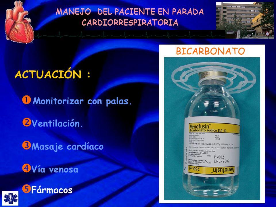ACTUACIÓN : BICARBONATO Monitorizar con palas. Ventilación.