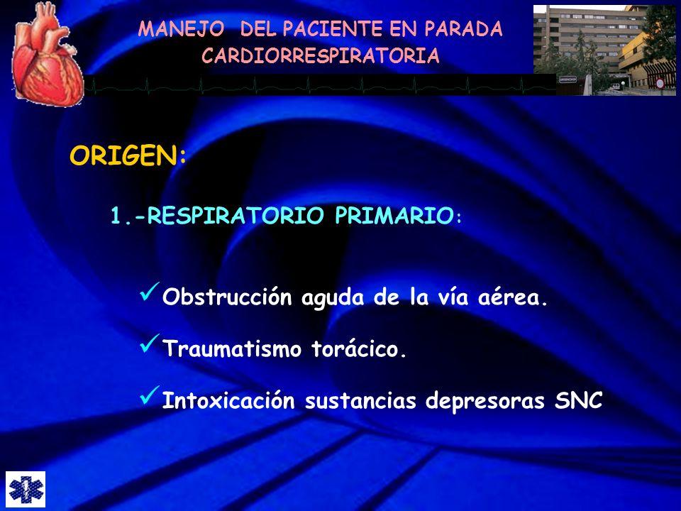 ORIGEN: 1.-RESPIRATORIO PRIMARIO: Obstrucción aguda de la vía aérea.