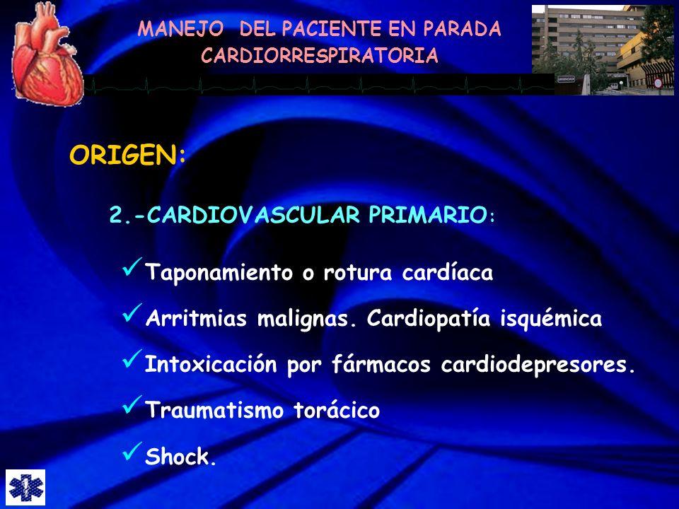 ORIGEN: 2.-CARDIOVASCULAR PRIMARIO: Taponamiento o rotura cardíaca