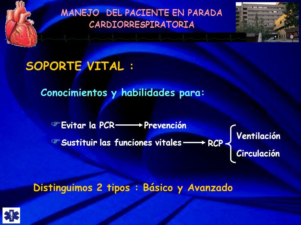 SOPORTE VITAL : Conocimientos y habilidades para: