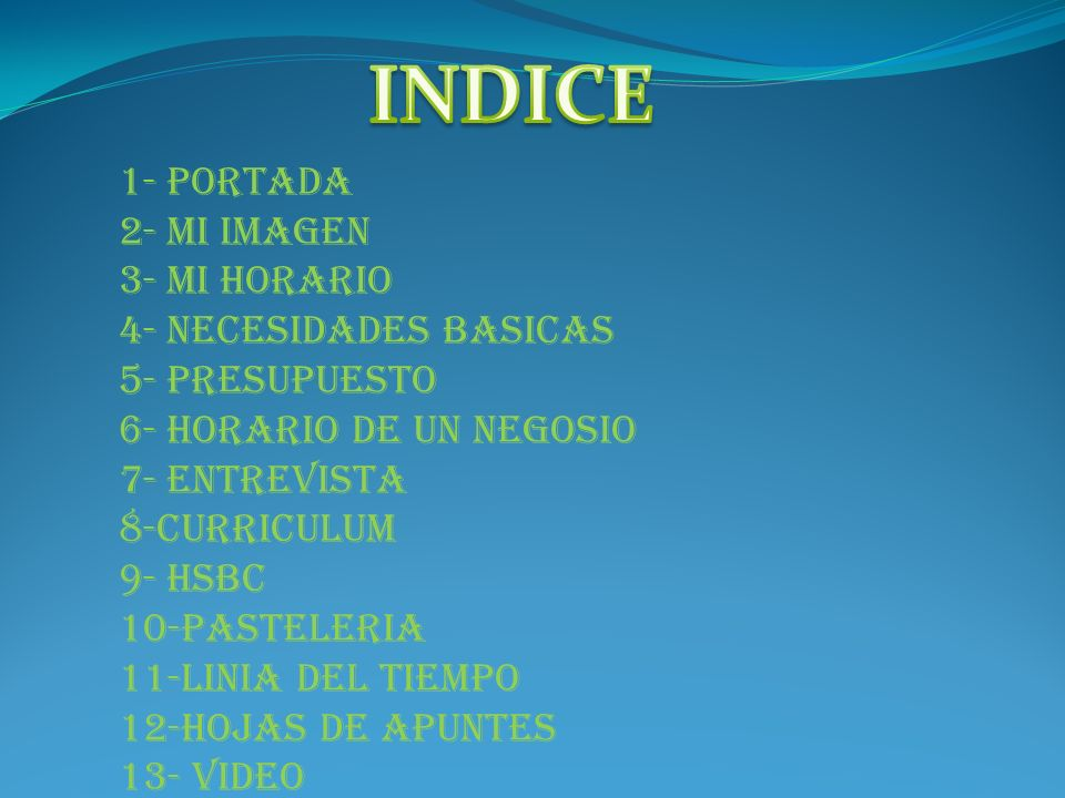 INDICE 1- PORTADA 2- MI IMAGEN 3- MI HORARIO 4- NECESIDADES BASICAS