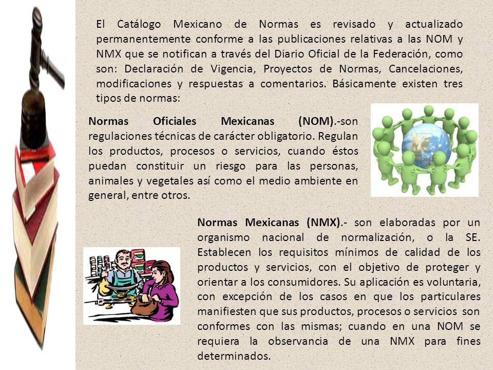 El Catálogo Mexicano de Normas es revisado y actualizado permanentemente conforme a las publicaciones relativas a las NOM y NMX que se notifican a través del Diario Oficial de la Federación, como son: Declaración de Vigencia, Proyectos de Normas, Cancelaciones, modificaciones y respuestas a comentarios. Básicamente existen tres tipos de normas: