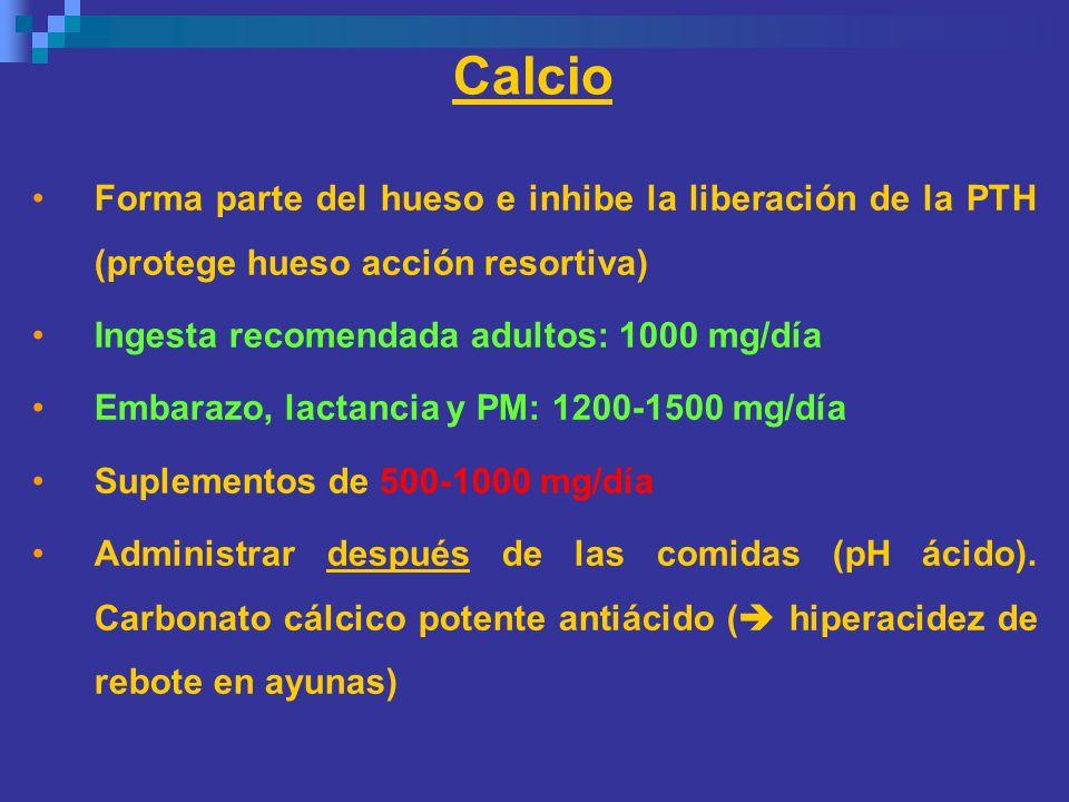 Calcio Forma parte del hueso e inhibe la liberación de la PTH (protege hueso acción resortiva) Ingesta recomendada adultos: 1000 mg/día.