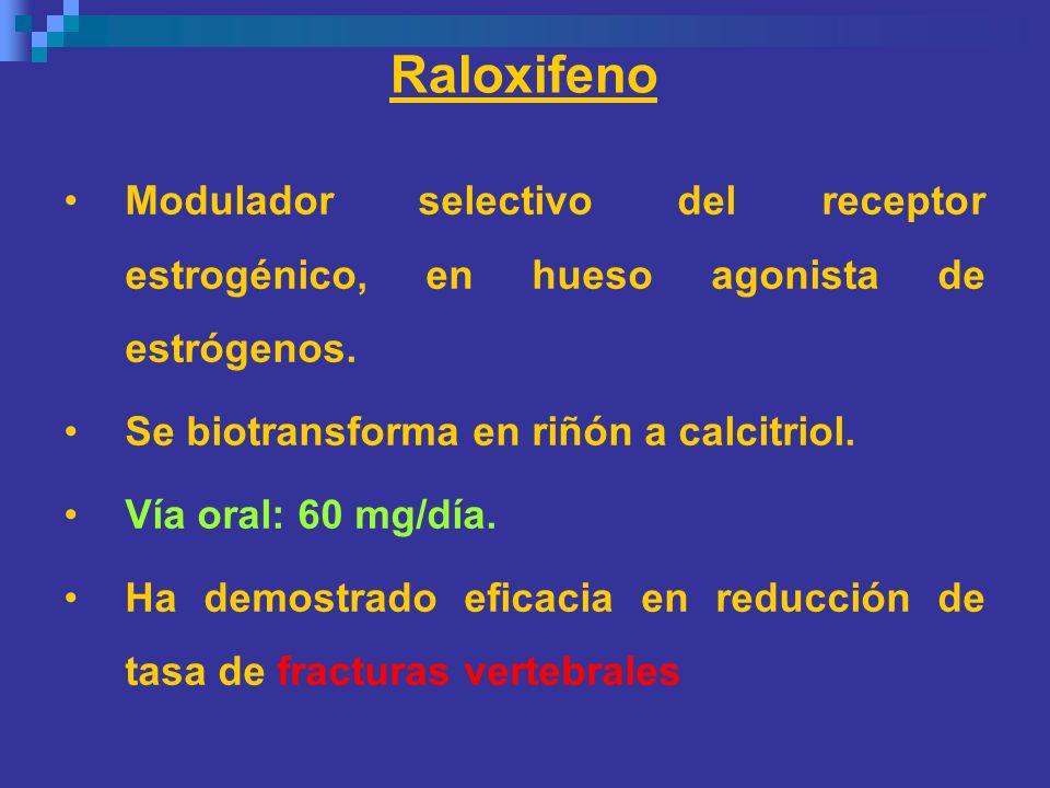 Raloxifeno Modulador selectivo del receptor estrogénico, en hueso agonista de estrógenos. Se biotransforma en riñón a calcitriol.