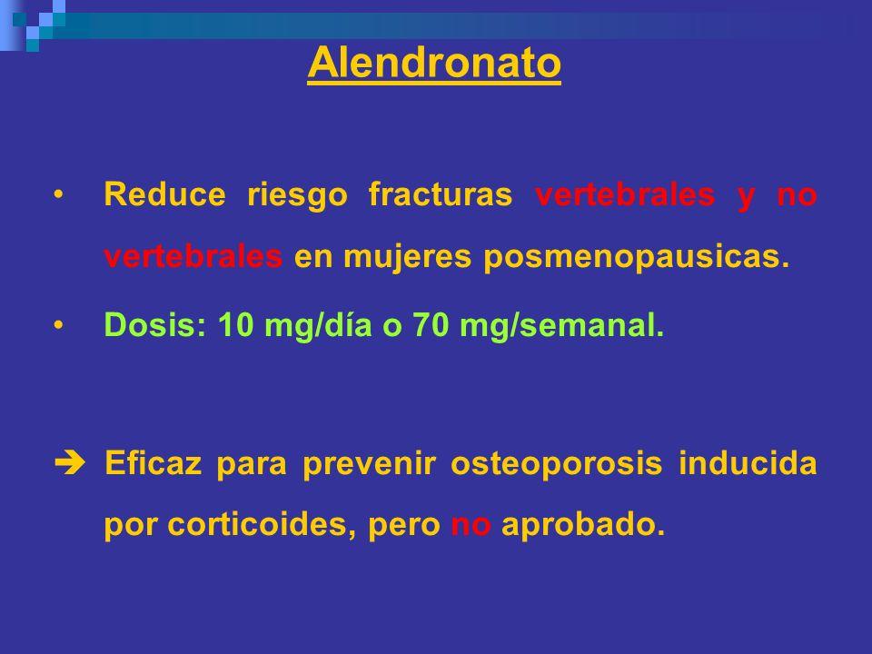 AlendronatoReduce riesgo fracturas vertebrales y no vertebrales en mujeres posmenopausicas. Dosis: 10 mg/día o 70 mg/semanal.