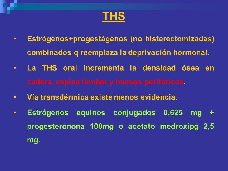 THSEstrógenos+progestágenos (no histerectomizadas) combinados q reemplaza la deprivación hormonal.