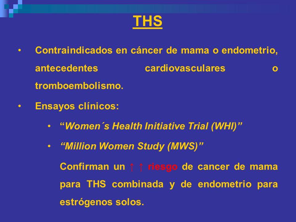 THS Contraindicados en cáncer de mama o endometrio, antecedentes cardiovasculares o tromboembolismo.