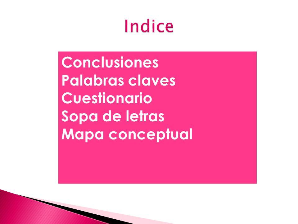 Indice Conclusiones Palabras claves Cuestionario Sopa de letras