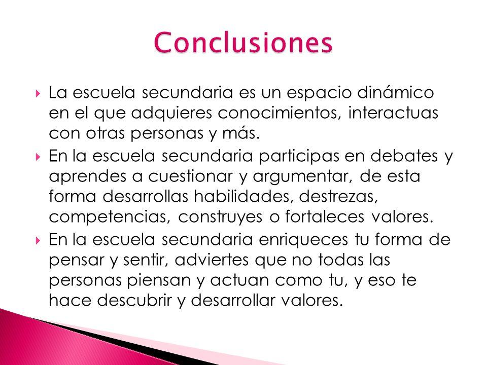 Conclusiones La escuela secundaria es un espacio dinámico en el que adquieres conocimientos, interactuas con otras personas y más.
