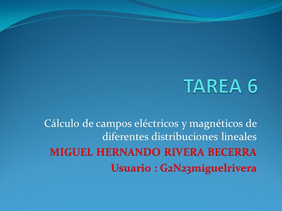 TAREA 6 Cálculo de campos eléctricos y magnéticos de diferentes distribuciones lineales. MIGUEL HERNANDO RIVERA BECERRA.