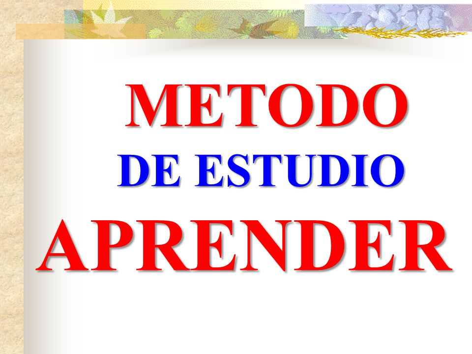 METODO DE ESTUDIO APRENDER