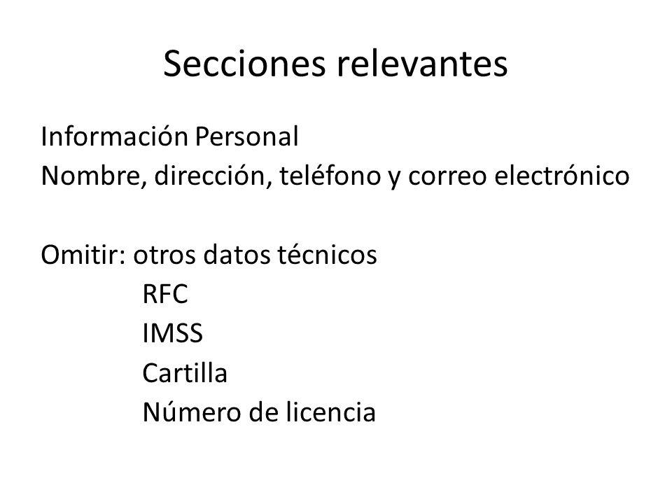 Secciones relevantes