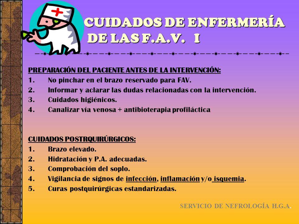 CUIDADOS DE ENFERMERÍA DE LAS F.A.V. I