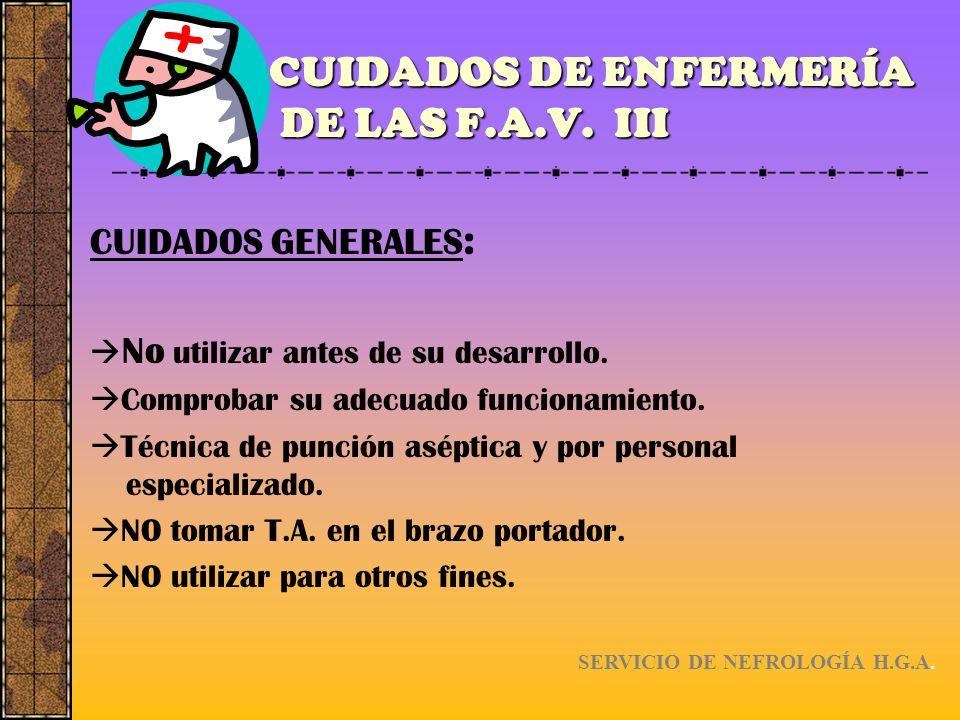 CUIDADOS DE ENFERMERÍA DE LAS F.A.V. III