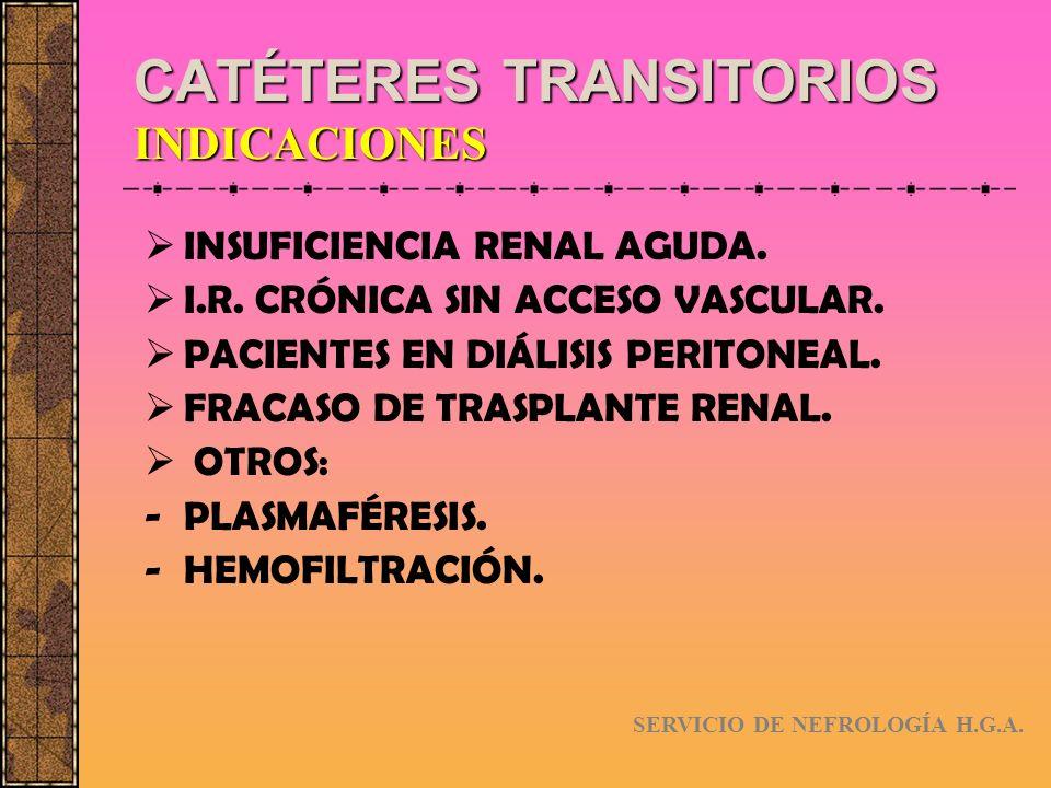 CATÉTERES TRANSITORIOS INDICACIONES