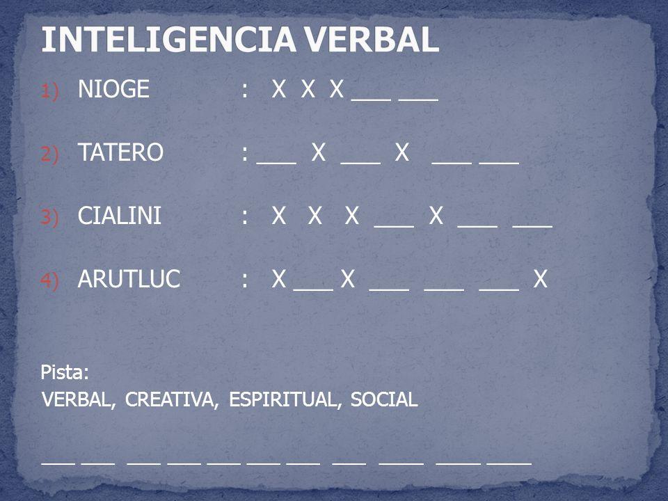 INTELIGENCIA VERBAL NIOGE : X X X ___ ___ TATERO : ___ X ___ X ___ ___