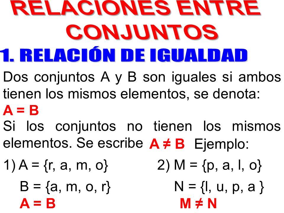 Si los conjuntos no tienen los mismos elementos. Se escribe A ≠ B