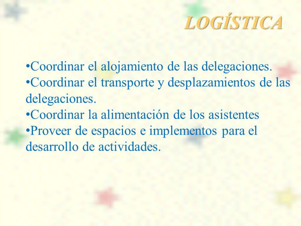 LOGÍSTICA Coordinar el alojamiento de las delegaciones.