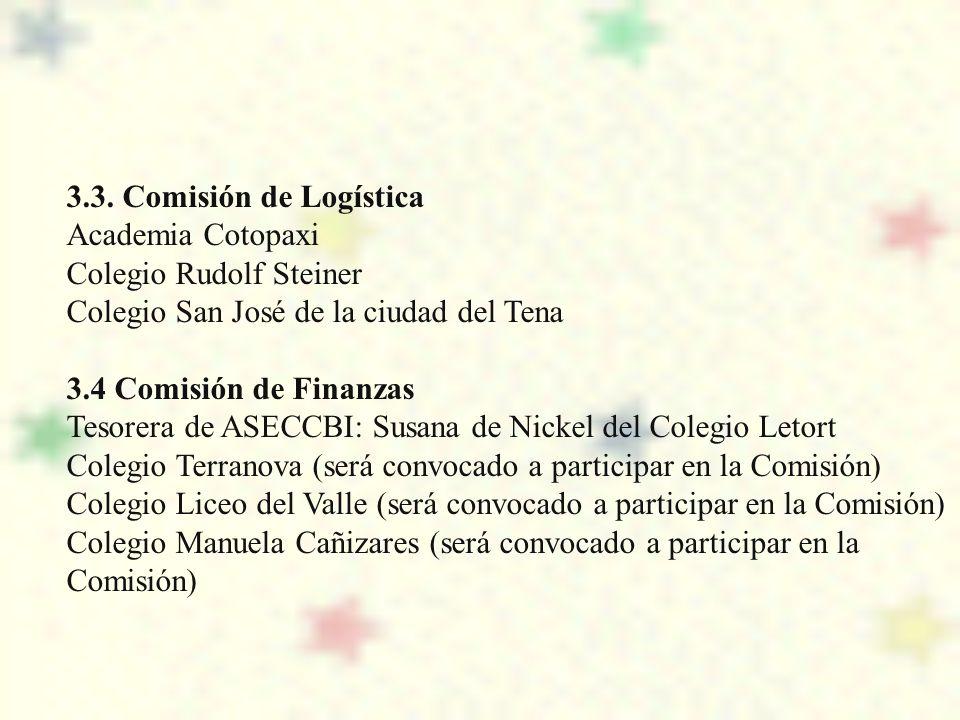 3.3. Comisión de Logística Academia Cotopaxi. Colegio Rudolf Steiner. Colegio San José de la ciudad del Tena.