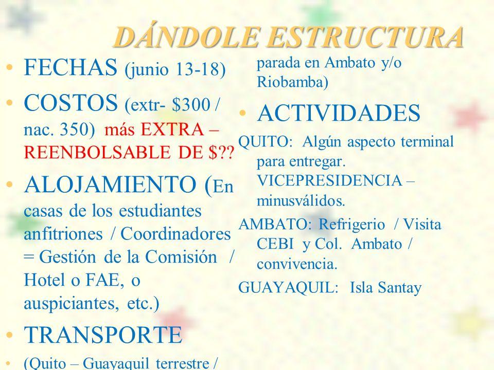 DÁNDOLE ESTRUCTURA FECHAS (junio 13-18)