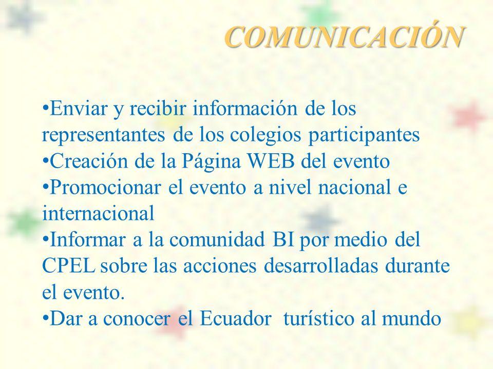 COMUNICACIÓN Enviar y recibir información de los representantes de los colegios participantes. Creación de la Página WEB del evento.