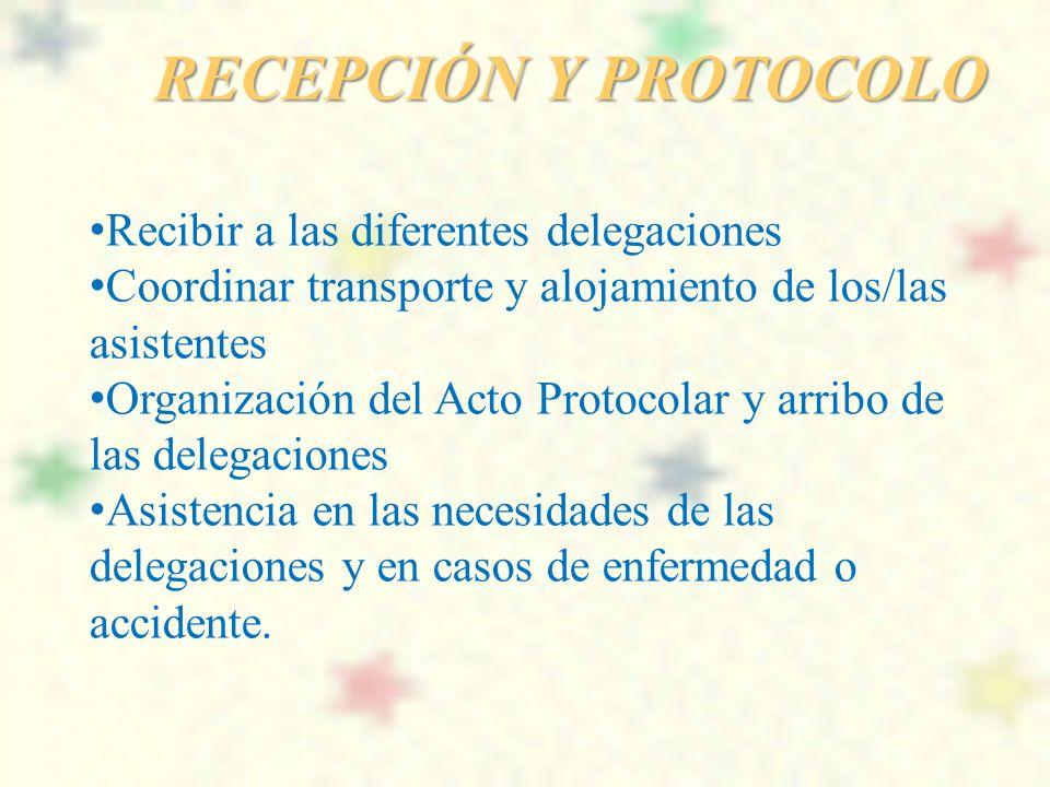 RECEPCIÓN Y PROTOCOLO Recibir a las diferentes delegaciones