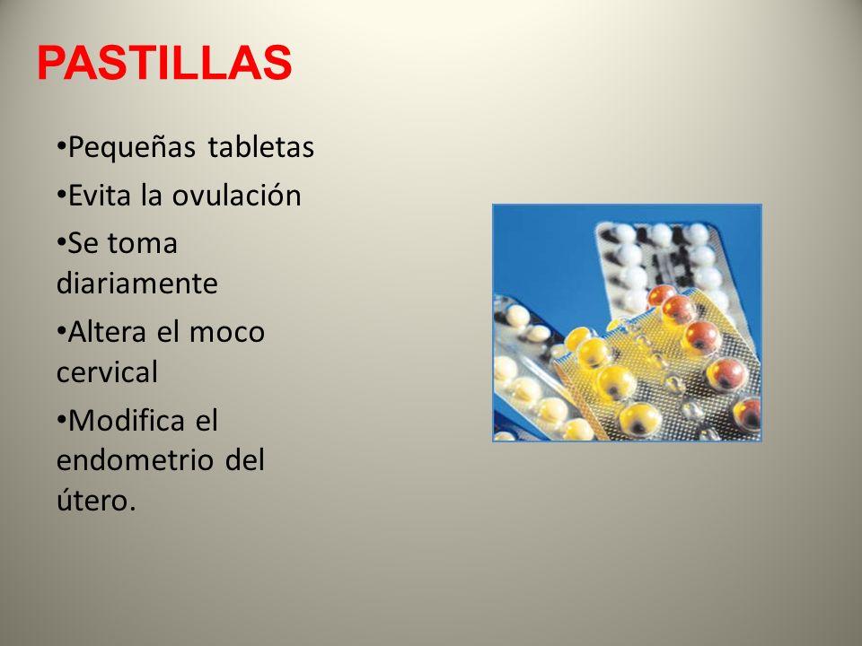 PASTILLAS Pequeñas tabletas Evita la ovulación Se toma diariamente