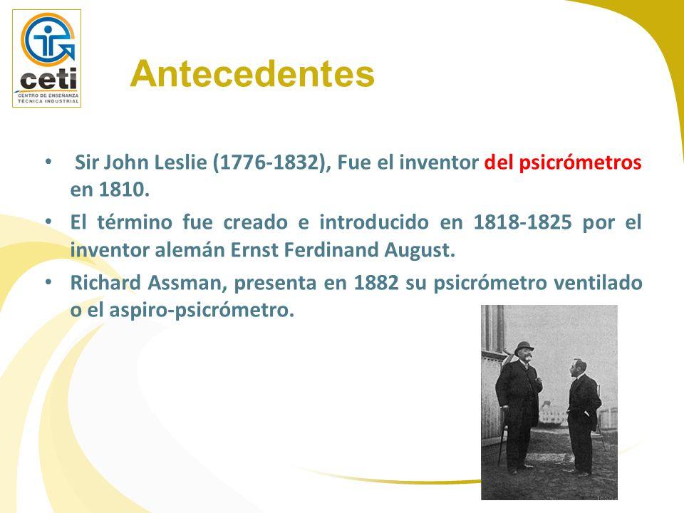 Antecedentes Sir John Leslie (1776-1832), Fue el inventor del psicrómetros en 1810.