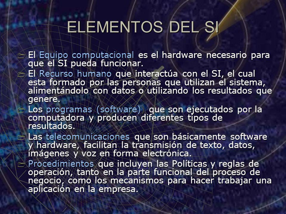 ELEMENTOS DEL SI El Equipo computacional es el hardware necesario para que el SI pueda funcionar.