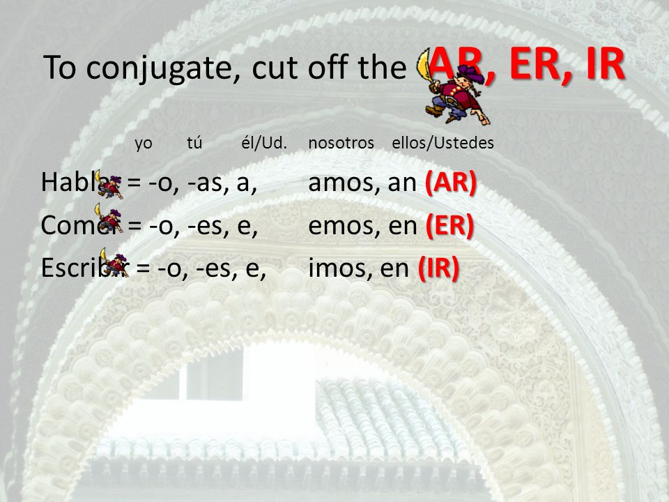 To conjugate, cut off the AR, ER, IR
