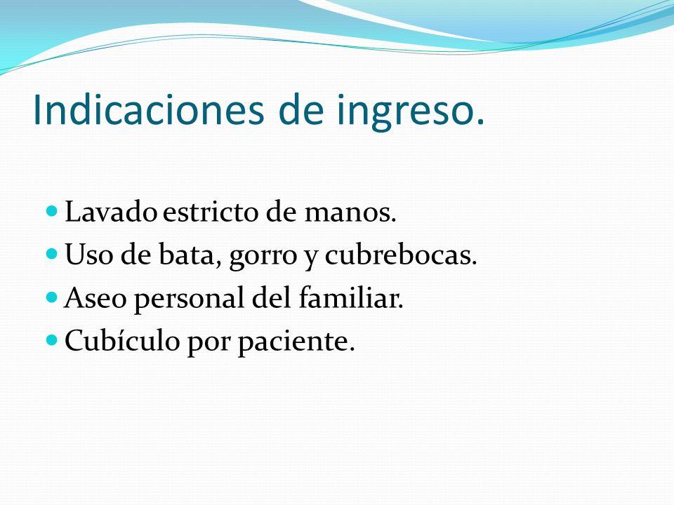 Indicaciones de ingreso.