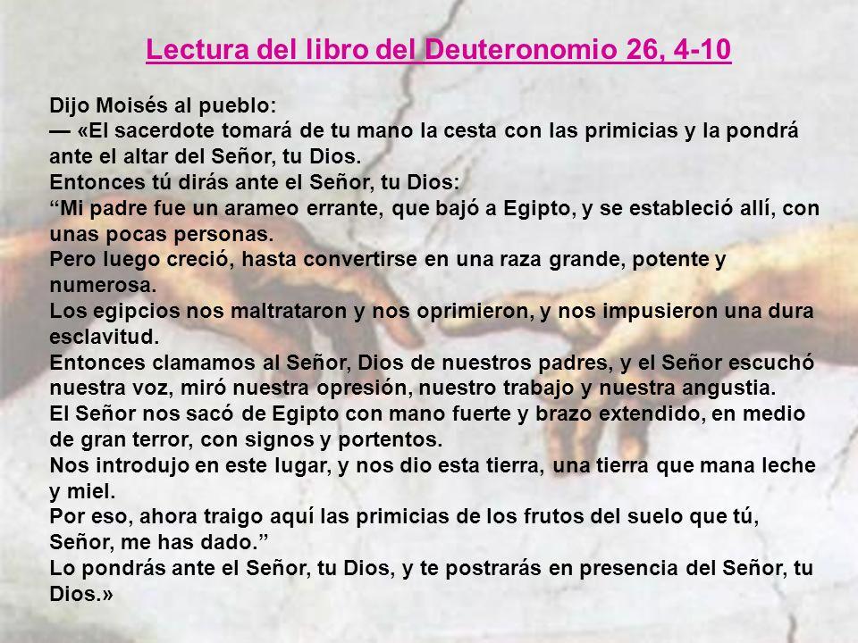 Lectura del libro del Deuteronomio 26, 4-10