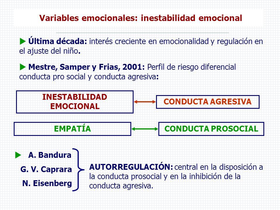 Variables emocionales: inestabilidad emocional INESTABILIDAD EMOCIONAL