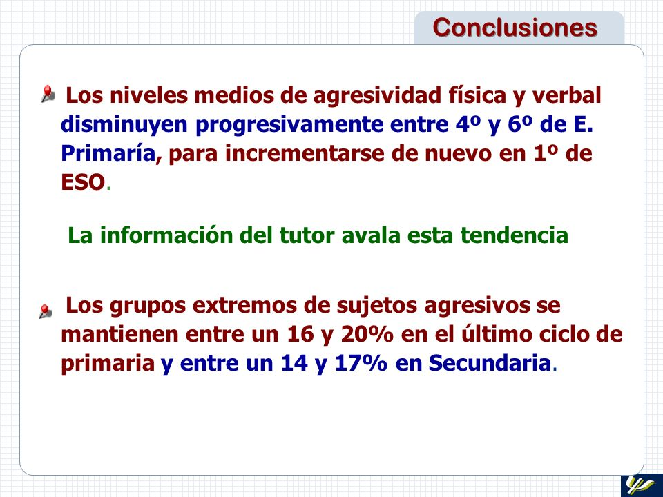 Conclusiones La información del tutor avala esta tendencia