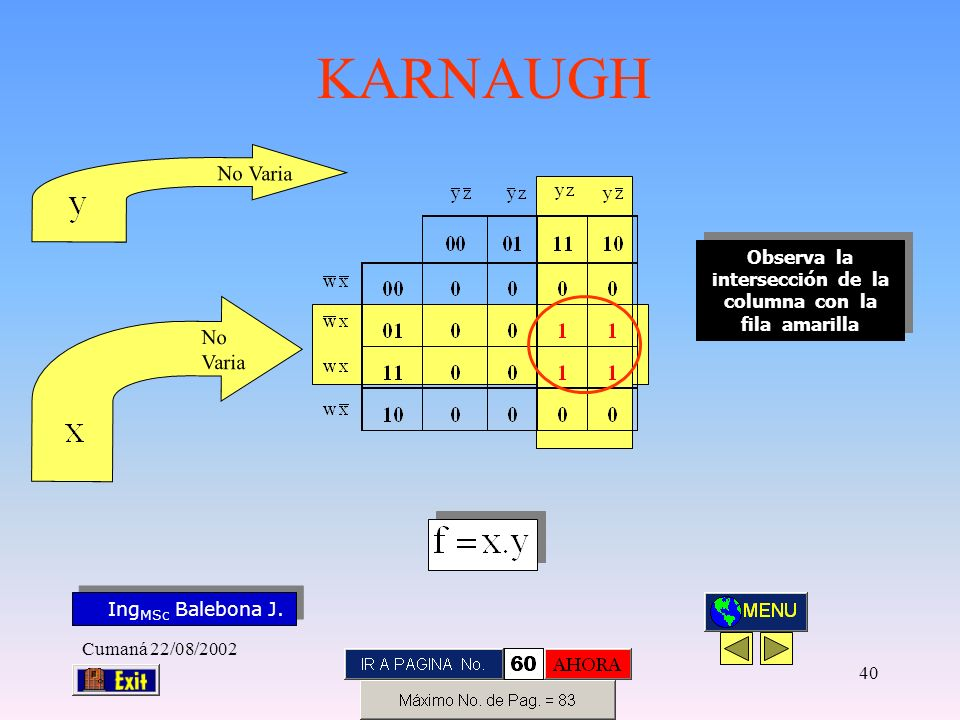 Observa la intersección de la columna con la fila amarilla
