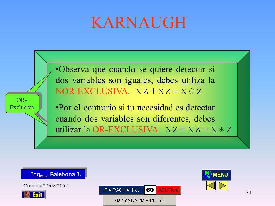 Observa que cuando se quiere detectar si dos variables son iguales, debes utiliza la NOR-EXCLUSIVA.