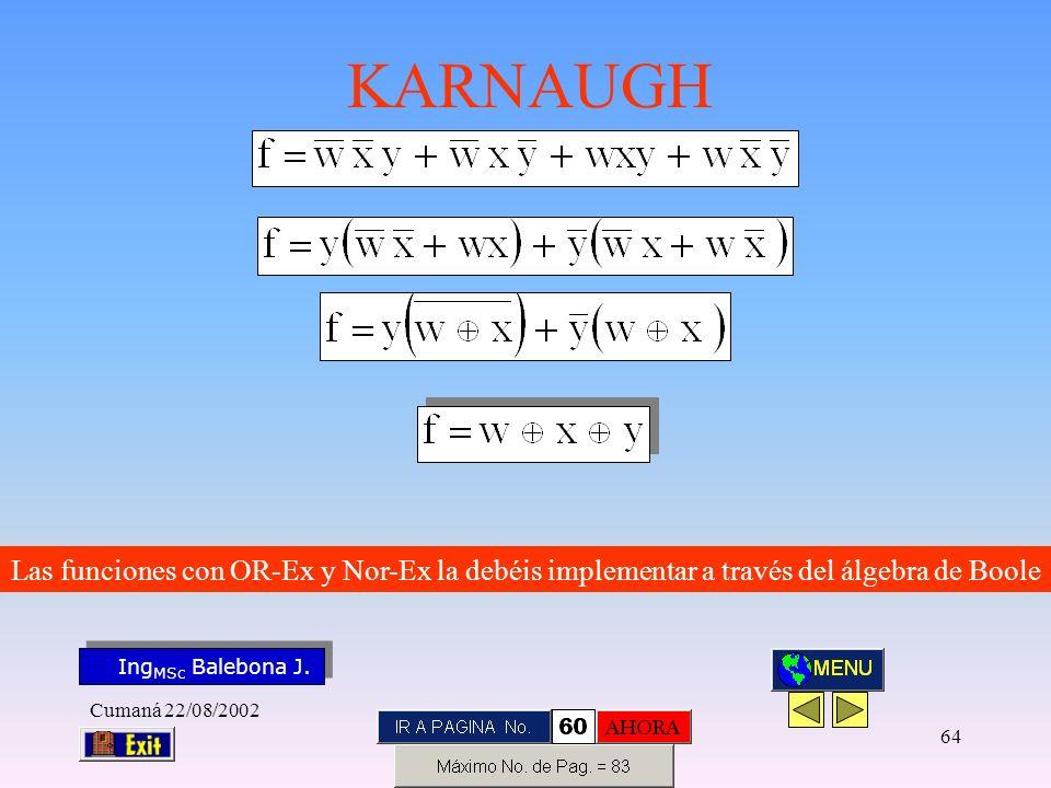 Las funciones con OR-Ex y Nor-Ex la debéis implementar a través del álgebra de Boole