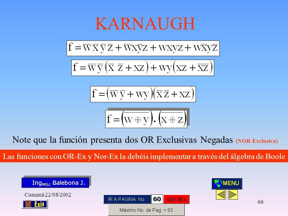Note que la función presenta dos OR Exclusivas Negadas (NOR-Exclusiva)