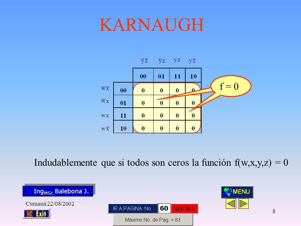 Indudablemente que si todos son ceros la función f(w,x,y,z) = 0