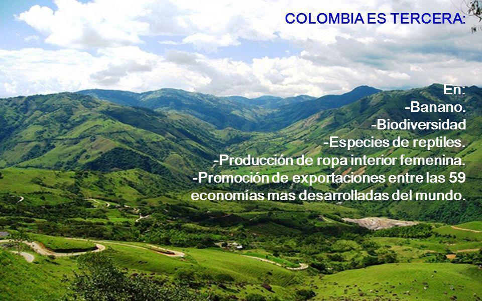 COLOMBIA ES TERCERA: En: -Banano. -Biodiversidad. -Especies de reptiles. -Producción de ropa interior femenina.