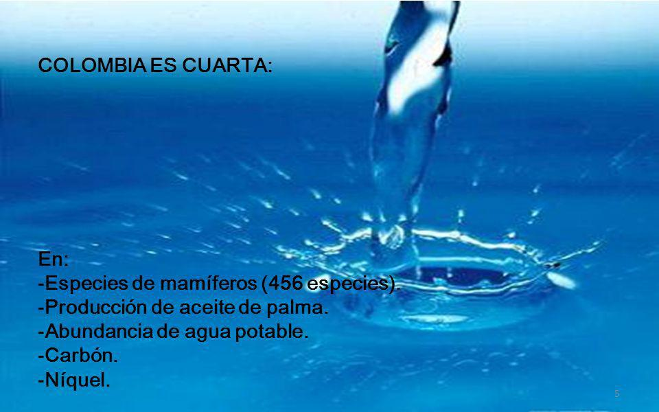 COLOMBIA ES CUARTA: En: Especies de mamíferos (456 especies). Producción de aceite de palma. Abundancia de agua potable.