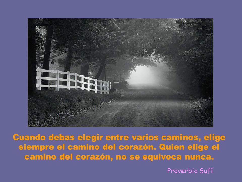 Cuando debas elegir entre varios caminos, elige siempre el camino del corazón. Quien elige el camino del corazón, no se equivoca nunca.