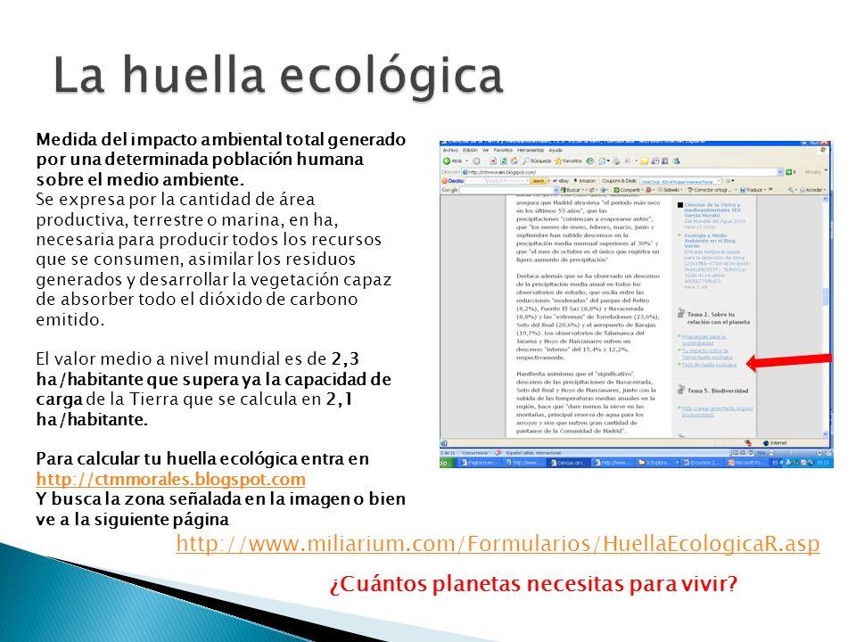 La huella ecológica Medida del impacto ambiental total generado por una determinada población humana sobre el medio ambiente.
