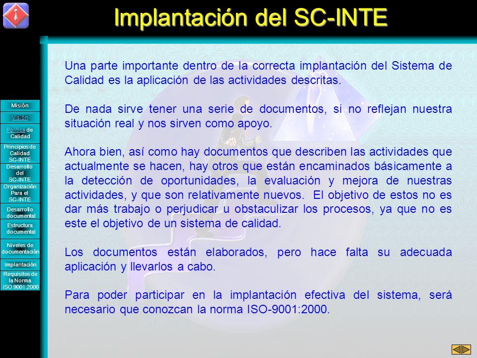 Implantación del SC-INTE