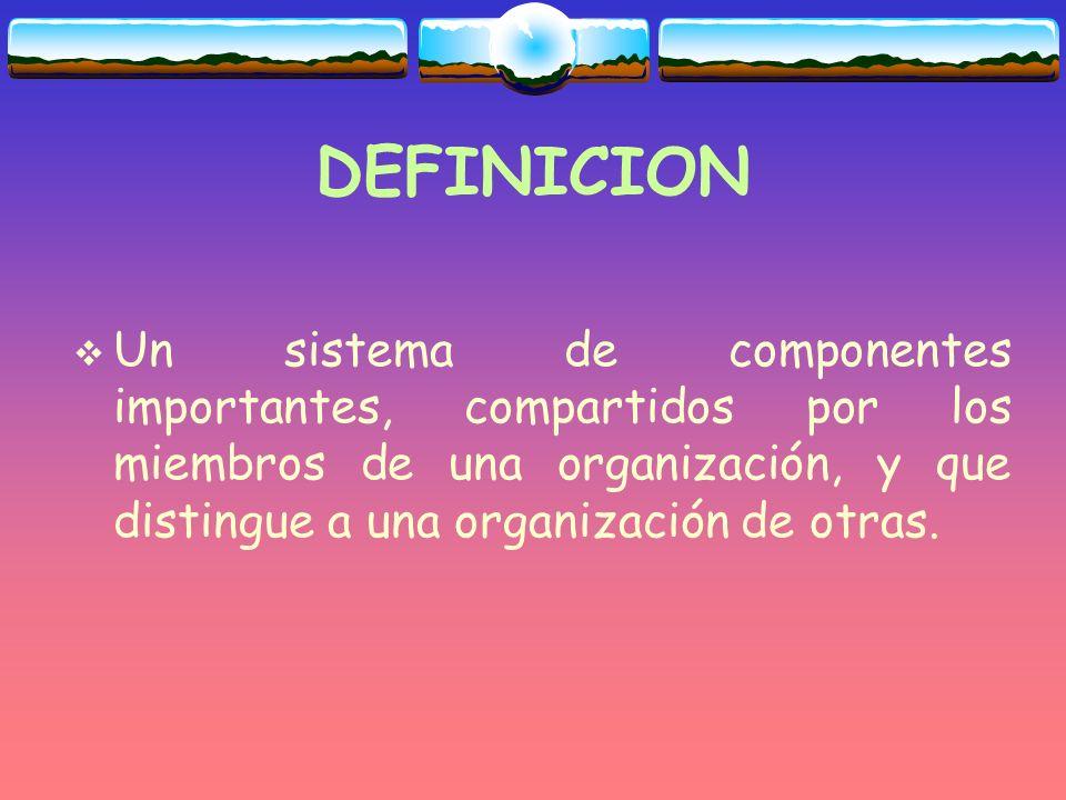 DEFINICION Un sistema de componentes importantes, compartidos por los miembros de una organización, y que distingue a una organización de otras.