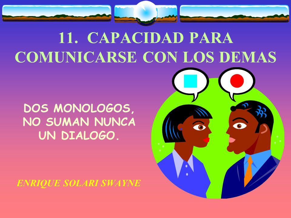 11. CAPACIDAD PARA COMUNICARSE CON LOS DEMAS