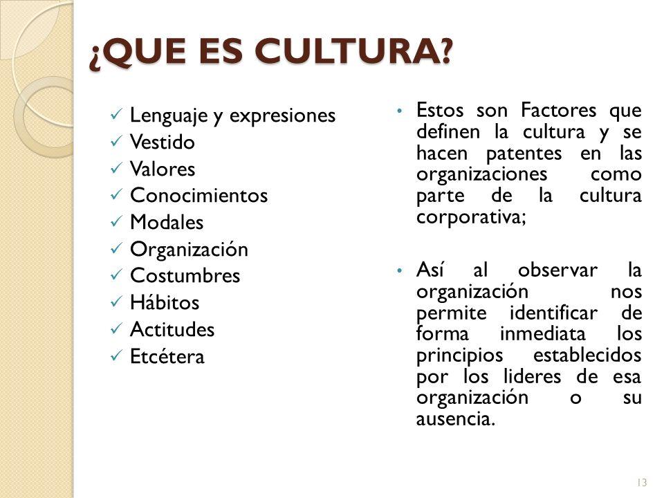 ¿QUE ES CULTURA Estos son Factores que definen la cultura y se hacen patentes en las organizaciones como parte de la cultura corporativa;