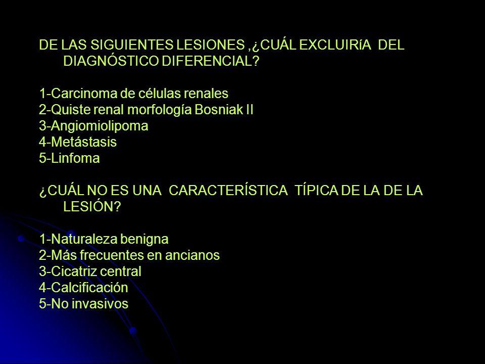 DE LAS SIGUIENTES LESIONES ,¿CUÁL EXCLUIRíA DEL DIAGNÓSTICO DIFERENCIAL
